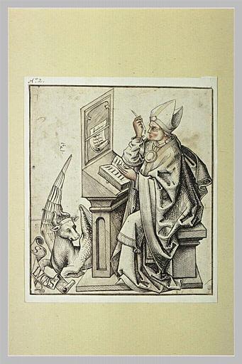 Saint Luc, assis, copiant un manuscrit
