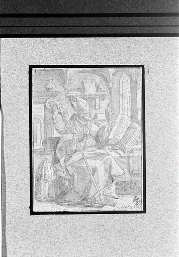 Saint Ambroise coiffé de la mitre, feuilletant un livre_0