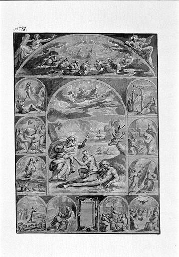 Frontispice avec sujets religieux dont la création d'Eve