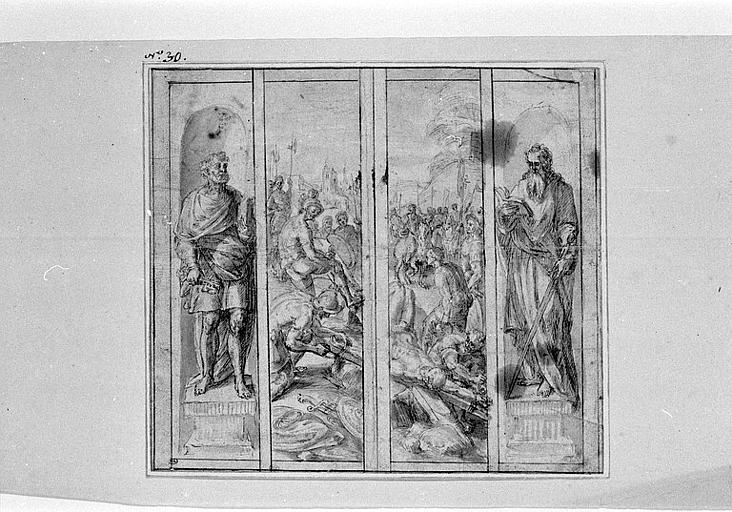 Crucifixion de saint Pierre et études de saint Pierre et saint Paul
