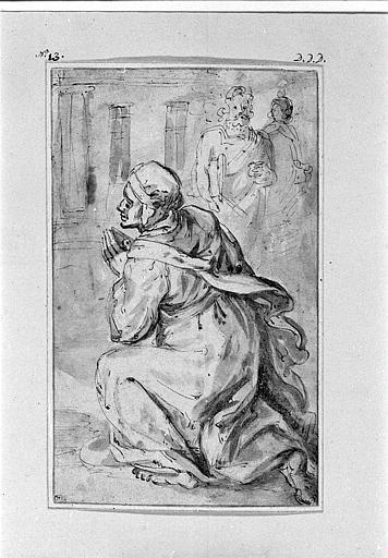 Femme en prière, et deux hommes debout