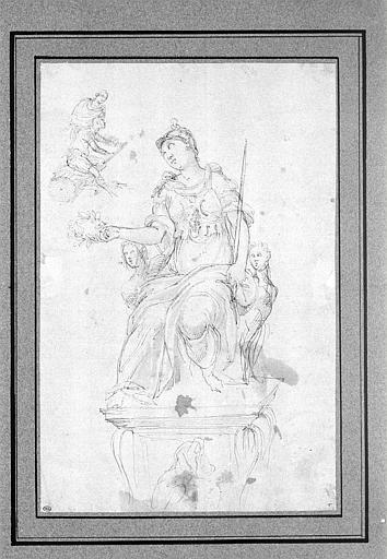 Statue d'une victoire, sur un piédestal