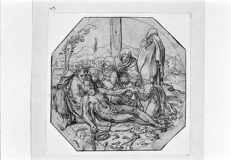 Le Christ, au pied de la Croix, pleuré par les Saintes Femmes et saint Jean