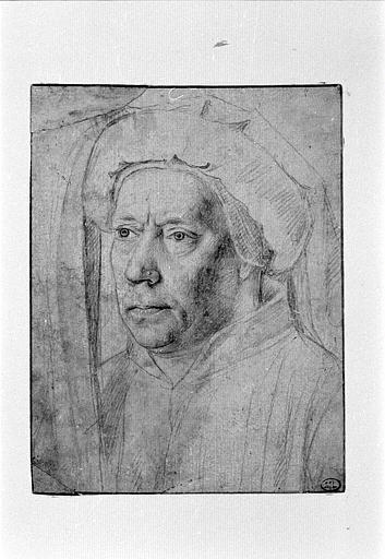 Portrait d'homme coiffé d'un chaperon à patte pendante