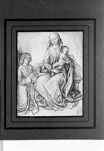 La Vierge et l'Enfant et un homme agenouillé