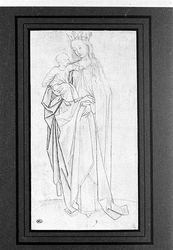 La Vierge debout, tenant l'Enfant Jésus sur le bras droit