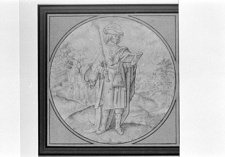 Un saint debout, couronné, lisant et tenant un sceptre