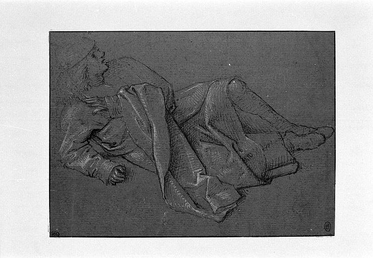 Jeune homme drapé, à demi-étendu à terre