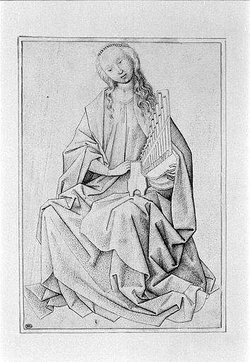Sainte Cécile assise, vue de face et tenant un petit orgue