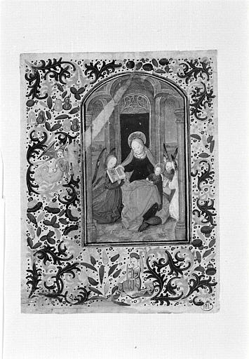 La Sainte Vierge assise avec l'Enfant et des anges