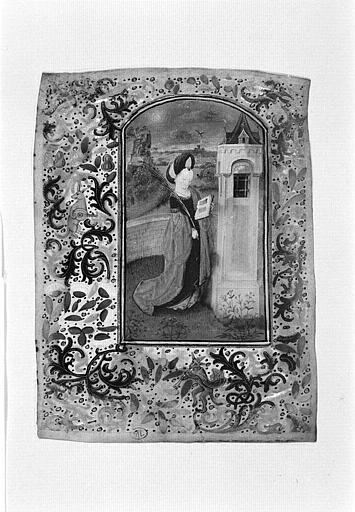 Sainte Barbe debout, devant la tour où elle sera enfermée