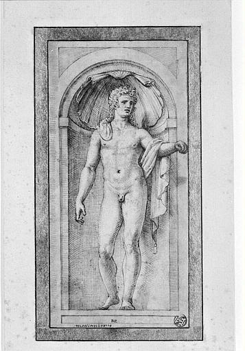 Figure d'homme nu, debout dans une niche