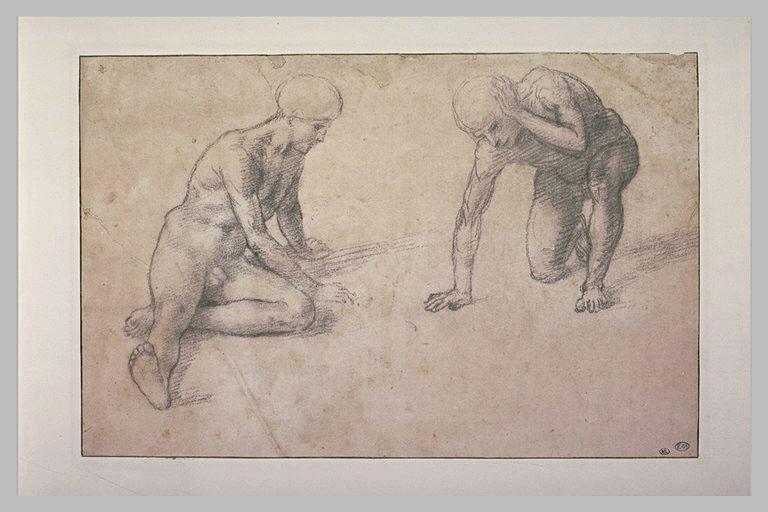 Deux hommes nus, l'un à demi allongé, l'autre se relevant