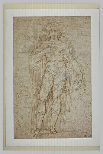 Bacchus, debout, tenant une coupe, entre deux figures assises esquissées