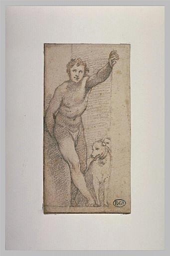 Jeune homme nu, debout, un chien à ses pieds