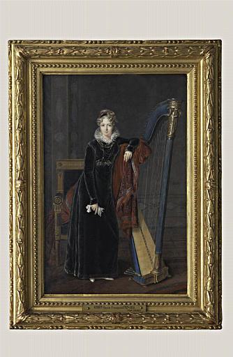 AUBRY Louis François : Portrait en pied d'une jeune femme blonde, robe de velours noir
