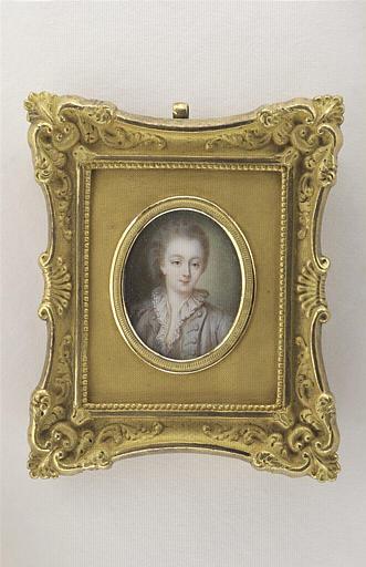 Portrait de Mme Du Barry, en buste, cheveux poudrés
