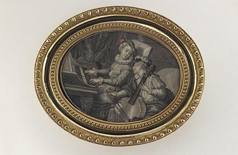 KLINGSTEDT Karl Gustav : Jeune fille jouant du clavecin, tournée vers un jeune homme