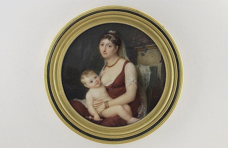 LAURENT Jean Antoine : Jeune femme allaitant, assise dans un parc