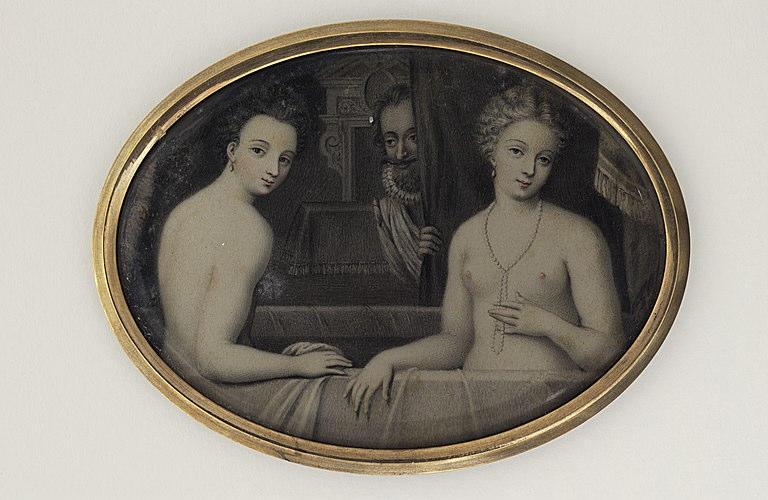 Deux jeunes femmes nues dans une baignoire ; dans le fond Henri IV