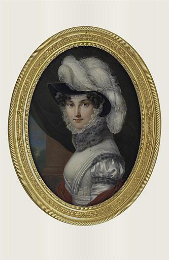 LARUE André Léon : Portrait de jeune femme au chapeau à plumes