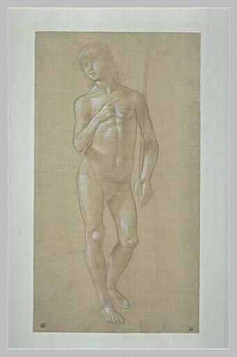 Jeune homme nu, debout, de face, tenant un bâton : saint Jean-Baptiste ?_0