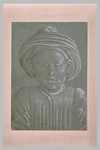 Buste d'homme coiffé d'un turban, vu de face