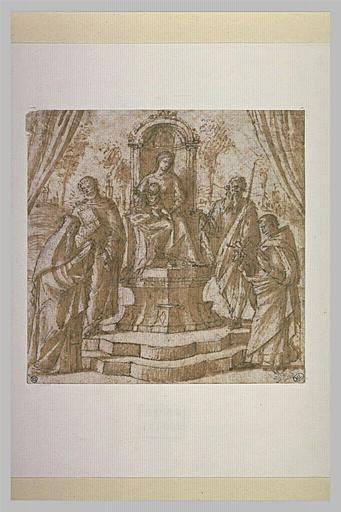 La Vierge et l'Enfant sur un trône entourée de quatre saints_0