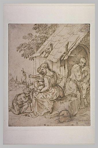 Le petit saint Jean agenouillé devant la Vierge à l'Enfant, et saint Joseph