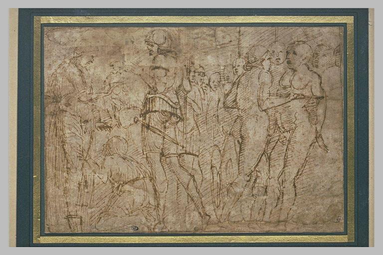 Soldats tenant éloignés une foule d'une figure agenouillée devant une autre