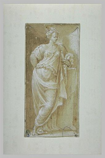 Femme debout, drapée, accoudée sur une demi colonne