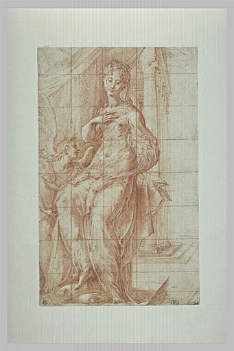 Vierge tenant l'Enfant Jésus, adoré par un ange