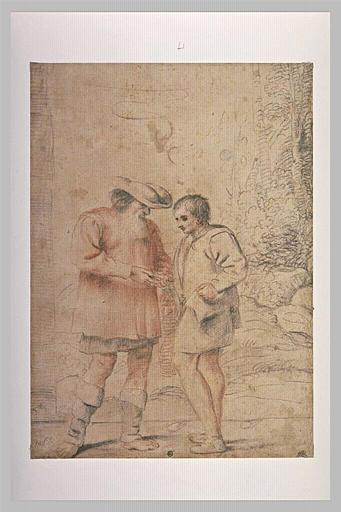 Deux paysans, debout, comptant de l'argent_0