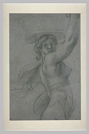 Femme portant une corbeille sur la tête