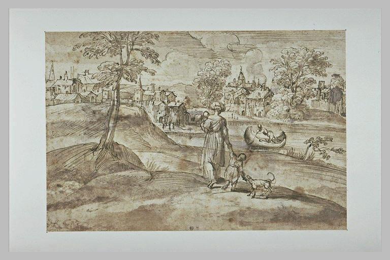 Paysage avec une femme et deux enfants près d'un étang