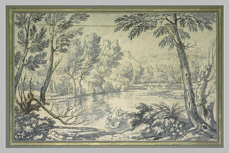 Paysage de montagne traversé par une rivière animé de personnages