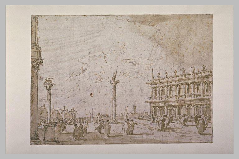 Vue de la Piazetta, à Venise, prise des marches de la basilique San Marco
