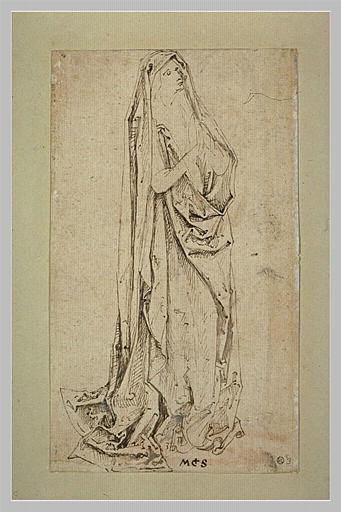 Femme, debout, joignant les mains