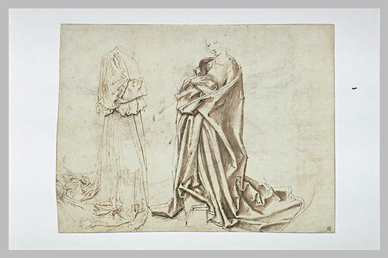 Figure de Vierge agenouillée, et deux études d'une tête d'homme