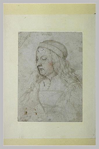 Femme en buste, de trois quarts vers la gauche, les yeux fermés