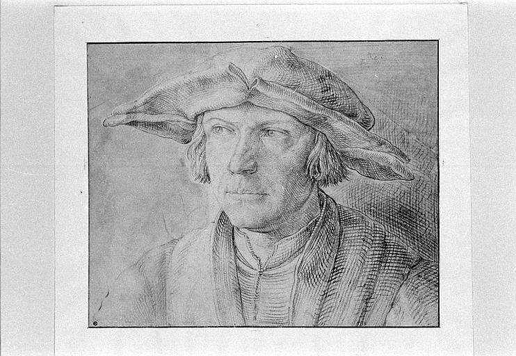 Portrait d'homme, de face, portant un chapeau à larges bords