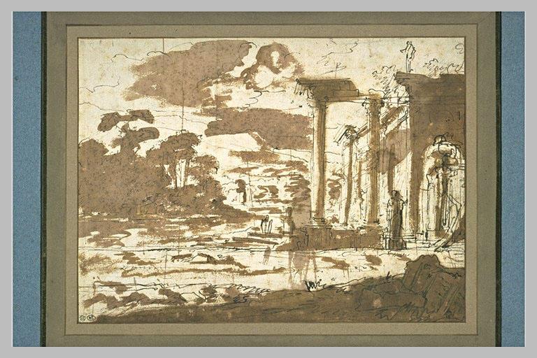 Paysage avec des ruines antiques_0