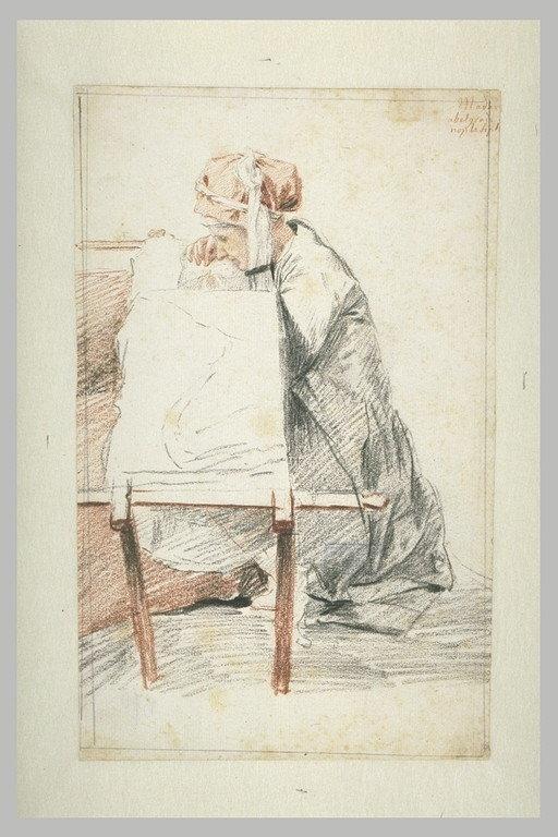 Madame Abelgrade, assise à terre, brodant sur son métier_0