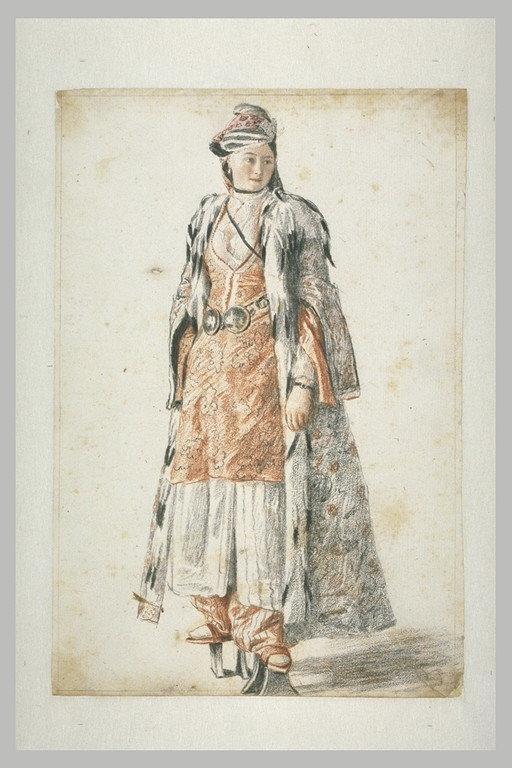 Dame de Constantinople chaussée de socques de bain, à l'entrée d'un hammam