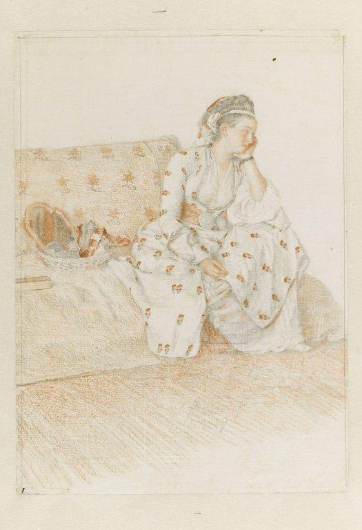 Jeune orientale sur un divan en costume turc_0