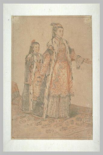 L'impératrice Marie Thérèses d'Autriche suivie de sa fille, en costume turc