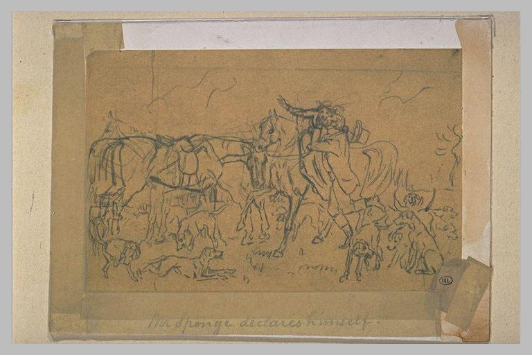 Scène galante caricaturale lors d'une chasse à courre