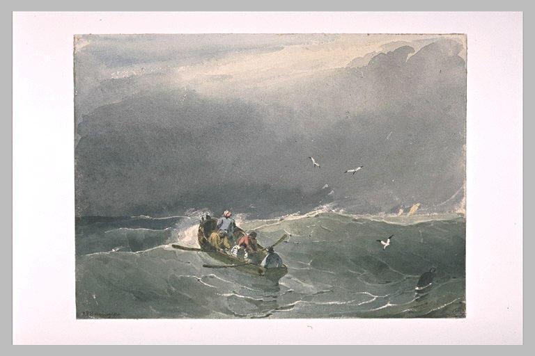Barque avec cinq marins sur une mer un peu agitée