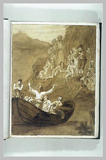TIEPOLO Domenico : Le Christ dans sa barque prêchant sur le lac de Genesareth