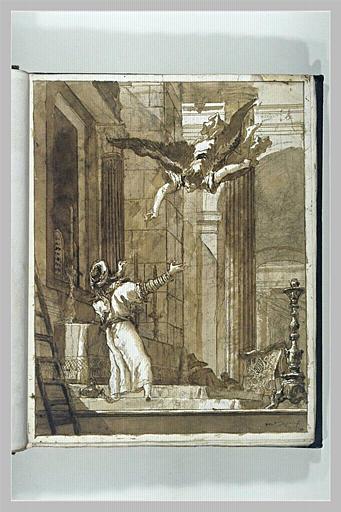 TIEPOLO Domenico : L'archange Gabriel annonce à Zacharie la naissance de saint Jean-Baptiste